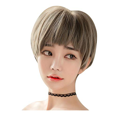 ZHML-wig Perruque-Beau Fluffy Cheveux Raides Court Haute Température Soie Naturel Réaliste Vert Bois Lin Gris Facile À Soins