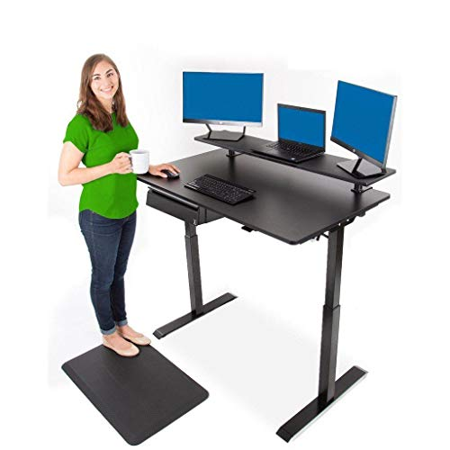 Stand Steady Tranzendesk Power 48 Inch Standing Desk w Clamp On Shelf & Under Desk Drawer - Electric, Height Adjustable, Sit to Stand - Go from Sitting to Standing w Easy Tap Lever (27.5 x 47.5)