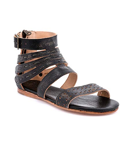 Bed Stu Artemis Women's Sandals - Leather Dress Sandal - Flat with Zipper Closure - Black Handwash