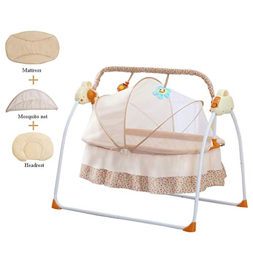 Affordable VAIY Lovely Baby Cradle Electric Baby Swing Bassinet Baby Cradle Crib (Color : Khaki, Siz...