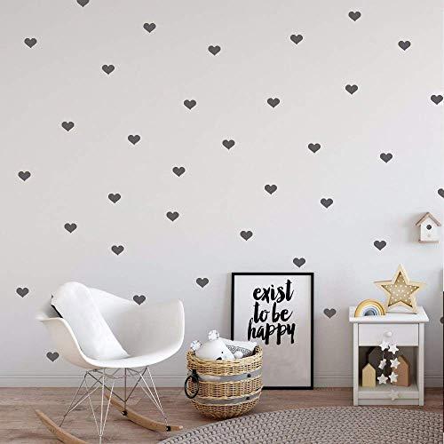 Wandtattoo Herzen Aufkleber,Kinderzimmer Wandsticker Set Herzen,Herz Wandaufkleber Sticker für Mädchen Babyzimmer/Kinderzimmer Schlafzimmer Deko,Grau,4CM,60Stück (Grau)