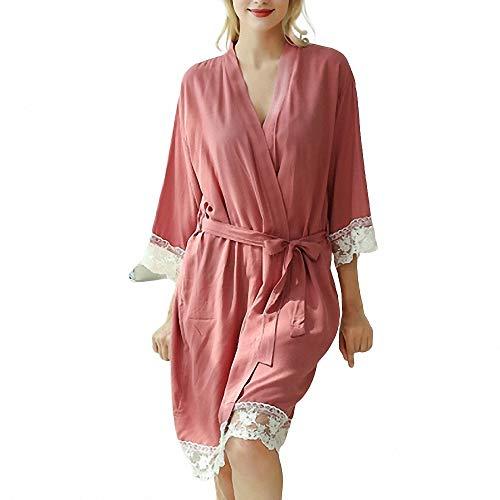 ZREED Frauen Baumwollspitze Volltonfarbe Kimono V-Ausschnitt Robe Kleid Bonding Party Nachthemd