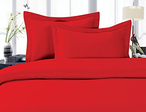 CELINE LINEN Best, Softest, Coziest Duvet Cover Ever! 1500 Thread Count Egyptian Quality Luxury Super Soft Wrinkle Free 3-Piece Duvet Cover Set, Full/Queen, Red