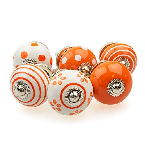 Set di 6 pomelli per mobili 089GN a pois bianchi e arancioni – Jay Button ceramica porcellana dipinta a mano vintage per mobili per armadio, cassetto, comò e porta
