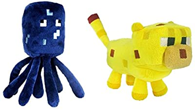 """Jazwares Set Of 2 Ocelot And Squid Minecraft Animal 7"""" Plush Toy Doll"""