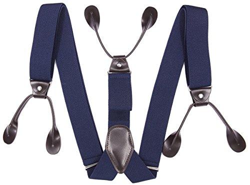 Bretelle di lusso da uomo di Refinemmee Blu tinta unita. XXX-Large