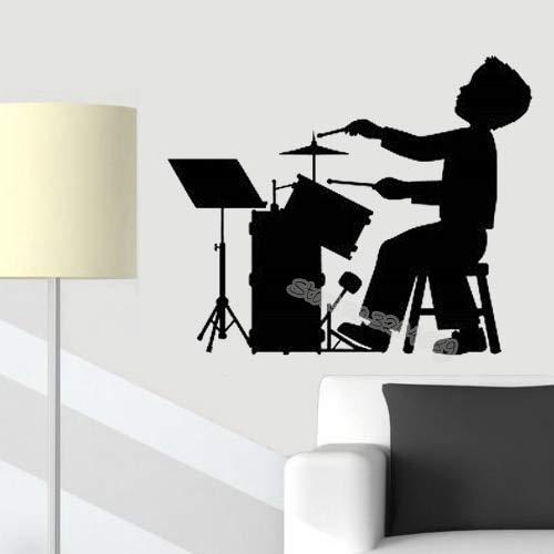supmsds Junge Spielen Arten von Musikinstrument Wandtattoos Spielen Schlagzeug Aufkleber Kinder Kinderzimmer Schlafzimmer Musical Decor Art Murals 68X56CM