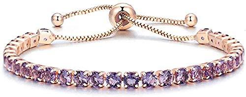 NONGYEYH co.,ltd Collar de Pulseras infinitas de circonita cúbica para Mujer, Pulsera de Oro Rosa y Plata, Pulsera de joyería geométrica de Moda