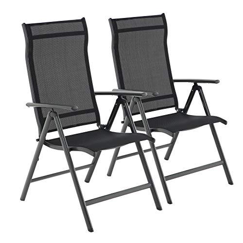 SONGMICS Gartenstühle, 2er Set, Klappstühle, Outdoor-Stühle mit robustem Aluminiumgestell, Rückenlehne 8-stufig verstellbar, bis 150 kg belastbar, schwarz GCB29BK