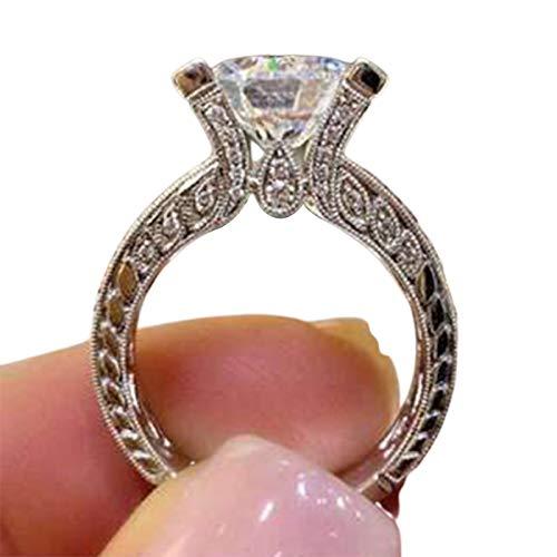 sudalv1971 Exquisito Anillo De Dedo De Boda con Incrustaciones De Diamantes De Imitación De Cristal Artificial para Mujer, Joyería De Boda, Regalo De San Valentín 9