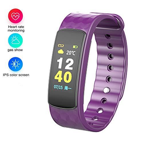 I6HR-C Smart Armband Disk Touch Screen Uhr Blutdruck Herzfrequenz Sauerstoff Monitor Bewegung Bluetooth Armband Edelstahlband (lila)