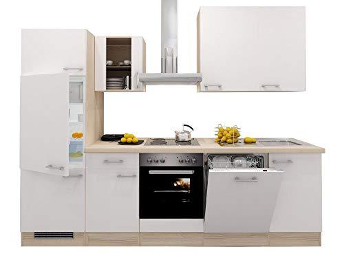 Küchenzeile 280 cm Creme Weiß Akazie mit Herd, Dunstabzug, Geschirrspüler, Kühlschrank & Spüle - Ancona