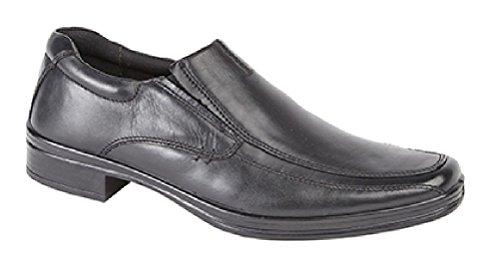 Roamer Jim Twin Gusset Schort Casual Lederen Slip Op Formele Schoenen - Zwart Leer, Heren UK 8/EU 42