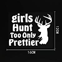 WZJH 16CMX12CM女の子狩りもきれいなビニール動物鹿車のステッカーデカール黒/銀 (Color Name : Silver)
