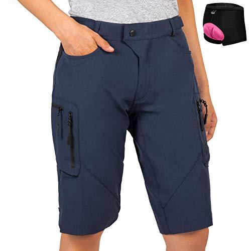 Cycorld Women's-Mountain-Bike-Shorts-MTB-Short, Cycling Padded Biking Shorts with Pocket Navy