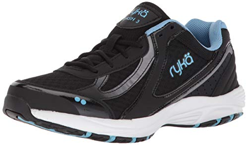 Ryka Women's Dash 3 Walking Shoe, Black/Meteorite/nc Blue, 8 M US
