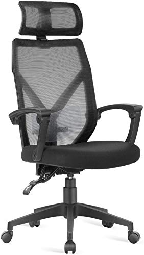 Dripex Bürostuhl Ergonomischer Stuhl, Schreibtischstuhl mit Verstellbarer Lordosenstütze, Kopfstütze und Armlehne, Höhenverstellung und Wippfunktion, Rückenschonend