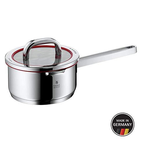 WMF Function 4 Stielkasserolle, 16 cm, Glasdeckel, Kochtopf 1,4l, Cromargan Edelstahl poliert, 4 Abgießfunktionen, Innenskalierung, Topf Induktion, unbeschichtet, rot