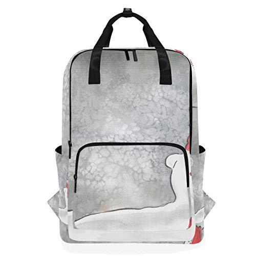 Umhängetasche Rucksack Büchertasche Lässiger Tagesrucksack Winter Moon Schneemann Schal Schule Multifunktion