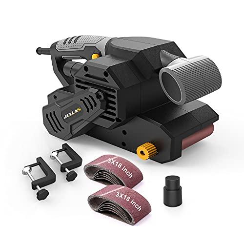 Belt Sander, Jellas 5.5 Amp Electric Sander, 2 in 1 Bench Sander with 12Pcs Sanding Belts 3x18 inch, Screw Adjusting Belt Tracking, 3m Power Cord for Derusting, Stripping Paint and Sanding, BS650