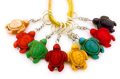 SET: 8 Maschenmarkierer Handmade bunt Howlithperlen Hobby Stricken Strickzubehör Anhänger Schildkröten