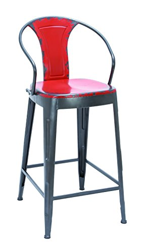 Plutus Brands Old Look Fire Engine Red Bar Chair with Comfort Arm Rests