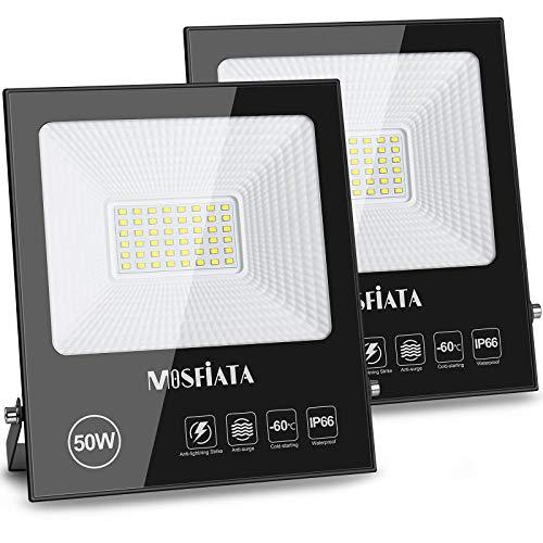 MOSFiATA 50W 2 Pack LED Flood Light, 250 LED 11000 Lumen Super Bright Security Lights, IP66 Waterproof Outdoor Work Light, 6000K Daylight White Floodlight for Garden, Yard, Lawn, Basketball Court