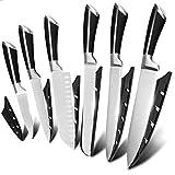 TOUARETAILS 6 Pieces Professional Kitchen Knife Set for Non-Slip Handle Kitchen Black with Sharp...