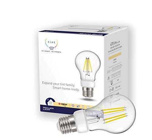 tint Müller-Licht - Bombilla LED (E27, forma de pera, cristal, 6 W, estilo retro, 1 unidad), color blanco