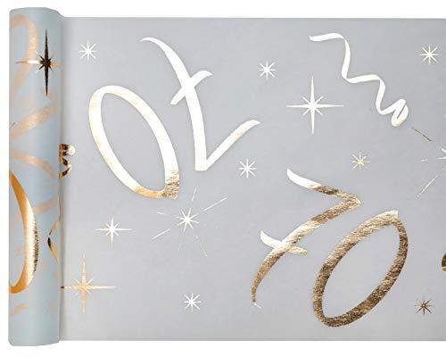 cama24com Tischläufer Vlies Zahl 70 Gold Geburtstag 5m Tischvlies Tischdekoration Deko mit Palandi® Sticker