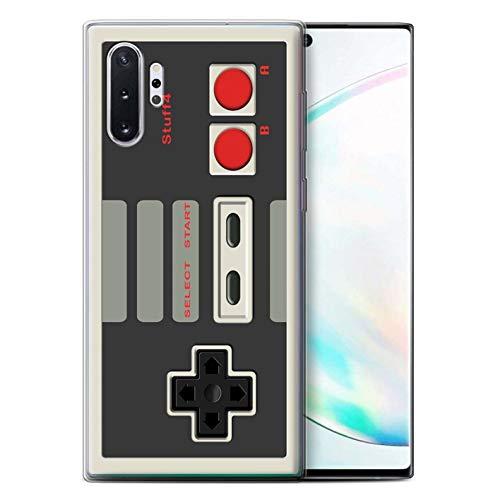 Phone Case for Samsung Galaxy Note 10+/Plus/5G Games Console Nintendo Classic Design Transparent Clear Ultra Soft Flexi Silicone Gel/TPU Bumper Cover