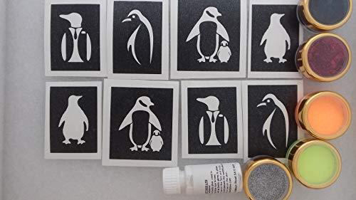 Pinguin Glitter Tattoo-Set mit Schablonen + Kleber Glitter Kinder Pinguine Vogel Meer Antarica