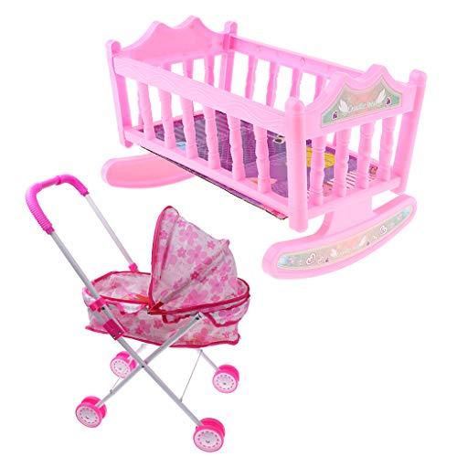 harayaa Pink Doll Pram Buggy Cochecito Y Cuna de Bebé para Muñeca de Juguete de 25-28cm