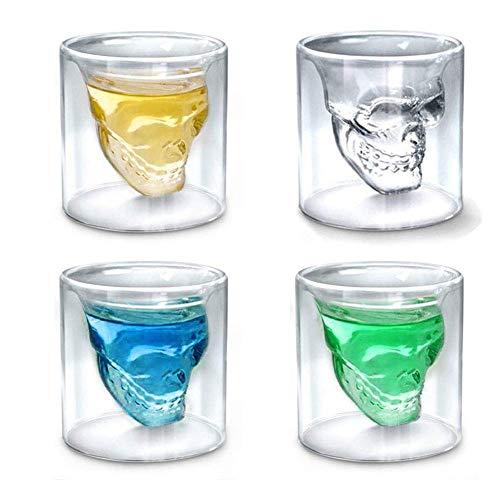 DBWIN Vaso de chupito de Calavera, Juego de Vasos de chupito de 2.5 oz, Vaso de Cristal Divertido para Hombres, Vasos de Whisky creativos, Vaso de Cerveza fría de Doble Pared, Regalo de Barra de f