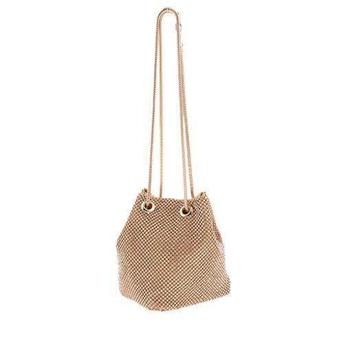 Damen Bucket Bag Schultertasche Umhängetasche Clutch Abendtasche Handtasche - Gold