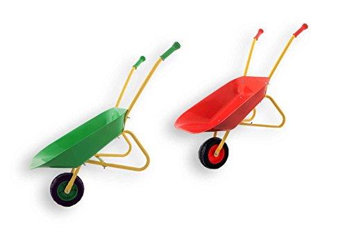 Fun Play Playfun - Kinder Schubkarre aus Metall Rot für die kleinen Gärtner Metallschubkarre Kinderschubkarre