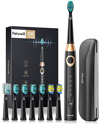 Fairywill D8 Sonic Electric Toothbrush for Adults and Kids ADA Accepted, 8 Dupont Brush Heads & Travel Case 5 Modes Rechargeable Whitening Power Toothbrush 2 Mins Smart Timer 40,000 VPM Black Series