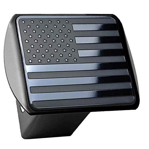 American Flag Hitch Cover- Metal USA Flag Trailer Hitch Cover - Patriotic Flag Plug Hitch Cover(Fits 2' Receivers, Black)