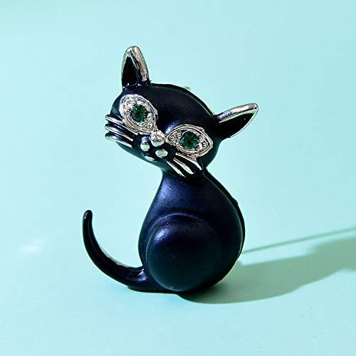 Broches de gato negro para niños lindo Vivid Kity Pin esmalte verde ojo bolsa de joyería de moda Badage buen regalo