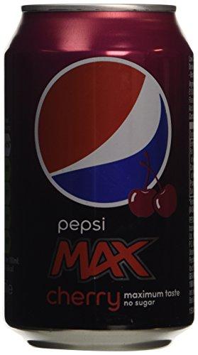 Pepsi Max Cherry Cola 24x 330ml - Colahaltiges Erfrischungsgetränk mit Kirsch-Flavour