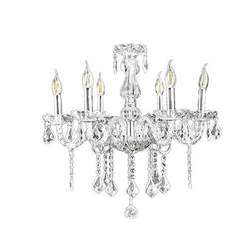 6-flammig Transparent Kristall Hängeleuchte Klassisch Kronleuchter Pendelleuchte Deckenleuchte antik Kristall Lüster E14