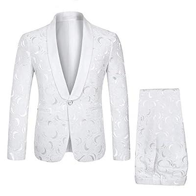 YFFUSHI Mens 1 Button 2 Piece White Tuxedo Shawl Collar Skinny Dress,White,Bust(Jacket) 42 Waist(Pants) 32 by