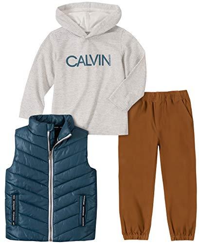 Calvin Klein Baby Boys 3 Pieces Puffy Vest Set, Green, 24M