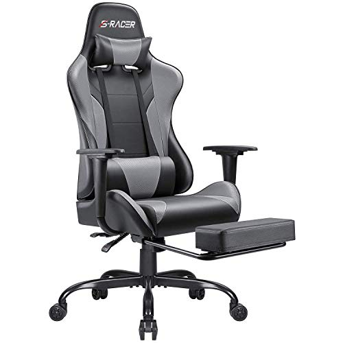 Homall Gaming Chair Computer Office Chair Ergonomic Desk Chair with Footrest Racing Executive Swivel Chair Adjustable Rolling Task Chair (Gray)