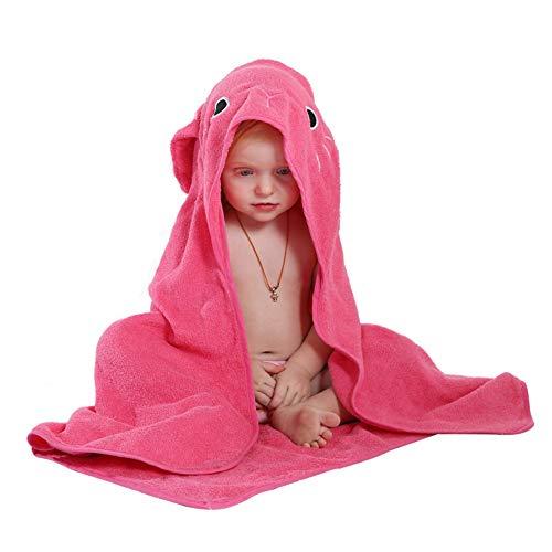 KLYJ Kinder Kapuzenhandtuch, Baby Baumwolle Bademantel Tier Badetuch Kleinkind Cartoon Handtuch Rose Rot Kaninchen