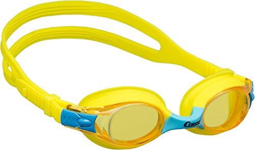 Cressi Dolphin 2.0, Occhialini Nuoto Premium per Bambino a Oculari Separati Gioventù Unisex, Giallo/Blu