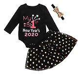 Xmiral Baby Mädchen Langarm Brief Strampler + Punkte Tutu Rock + Stirnband Outfits Neugeborenen Neujahrskleid Kleidung Set(Schwarz,3-6 Monate)
