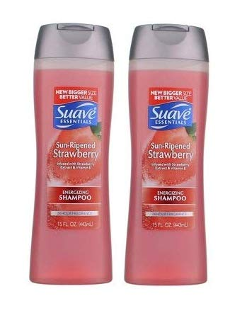 Suave Essentials Energizing Shampoo, Sun-Ripened Strawberry, 15 fl oz (2 pack) (Bundle)
