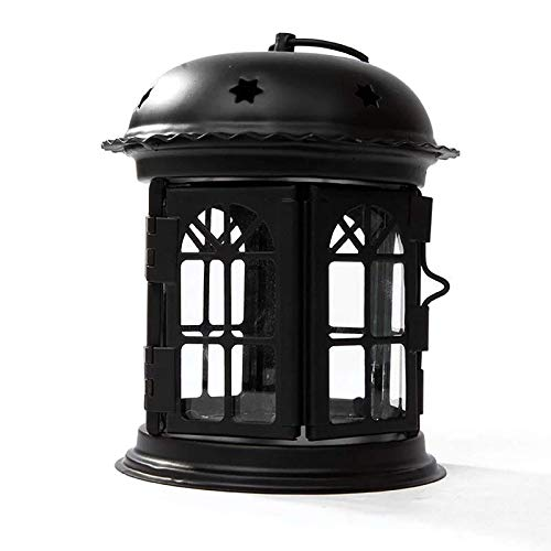 LAMZH Vela Linterna Hierro Forjado Vela Soporte Vela lámpara de Viento lámpara de Barra decoración del hogar Retro Hierro Vela Linterna (Color : Black, Size : 14x14x16cm)