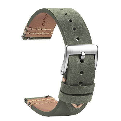 TStrap Orologi Cinturini Pelle 18mm - Sostituzione Cinturino Morbido Grigio a Sgancio Rapido - Cinturino Sportivo per Uomo Donna - Cinturino Orologi Intelligenti Fibbia Argento - 19mm 20mm 21mm 22mm